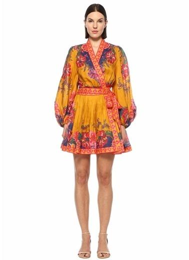 Zimmermann Zimmermann The Lovestruck Desenli Mini Keten Elbise 101598412 Renkli